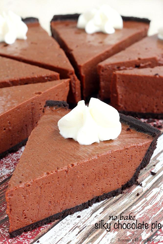 Baked Chocolate Pie  No bake silky chocolate pie recipe