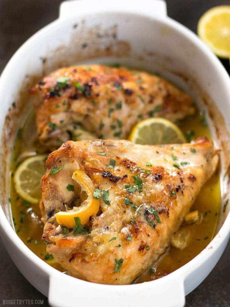 Baked Lemon Chicken Breast  Lemon Garlic Roasted Chicken Bud Bytes