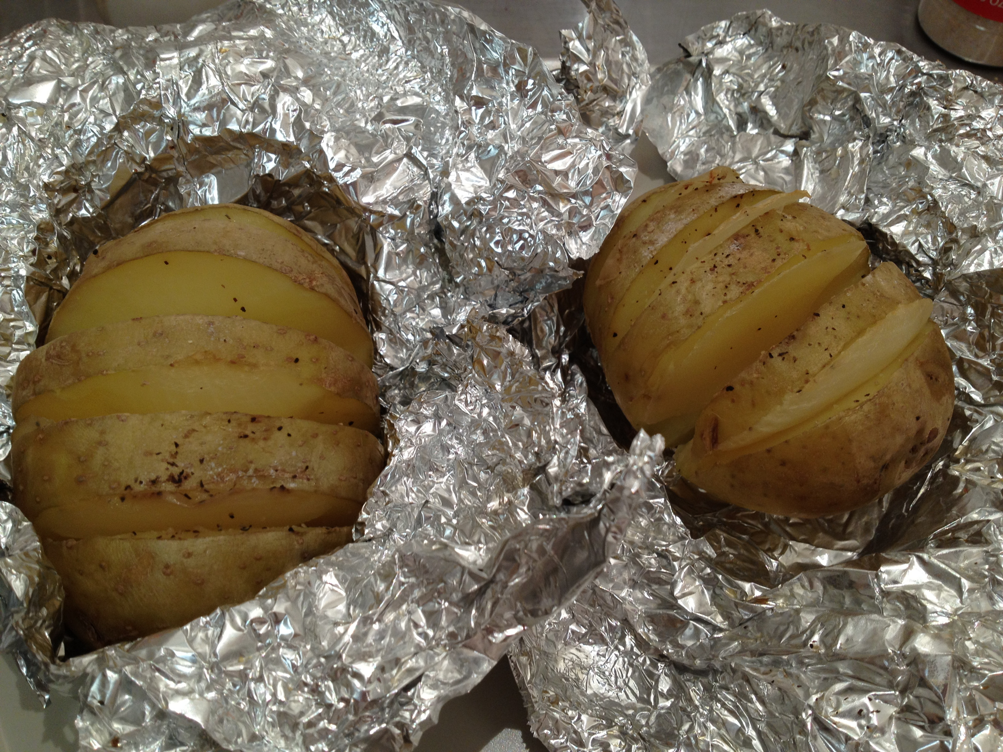 Baked Potato In Foil  baked potato in oven wrapped in foil