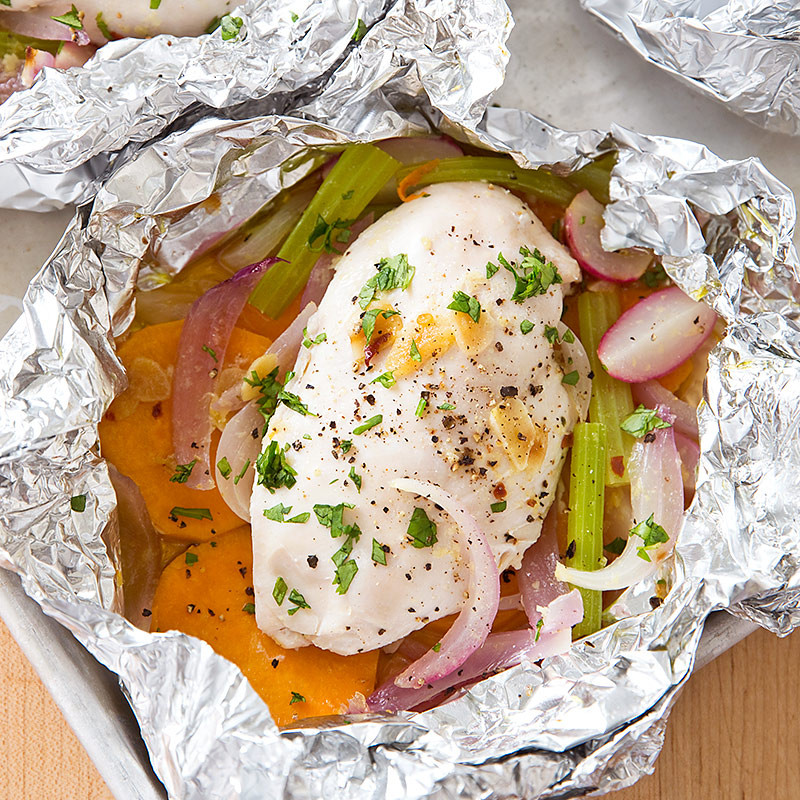 Baked Potato In Foil  Chicken Baked in Foil with Sweet Potato and Radish