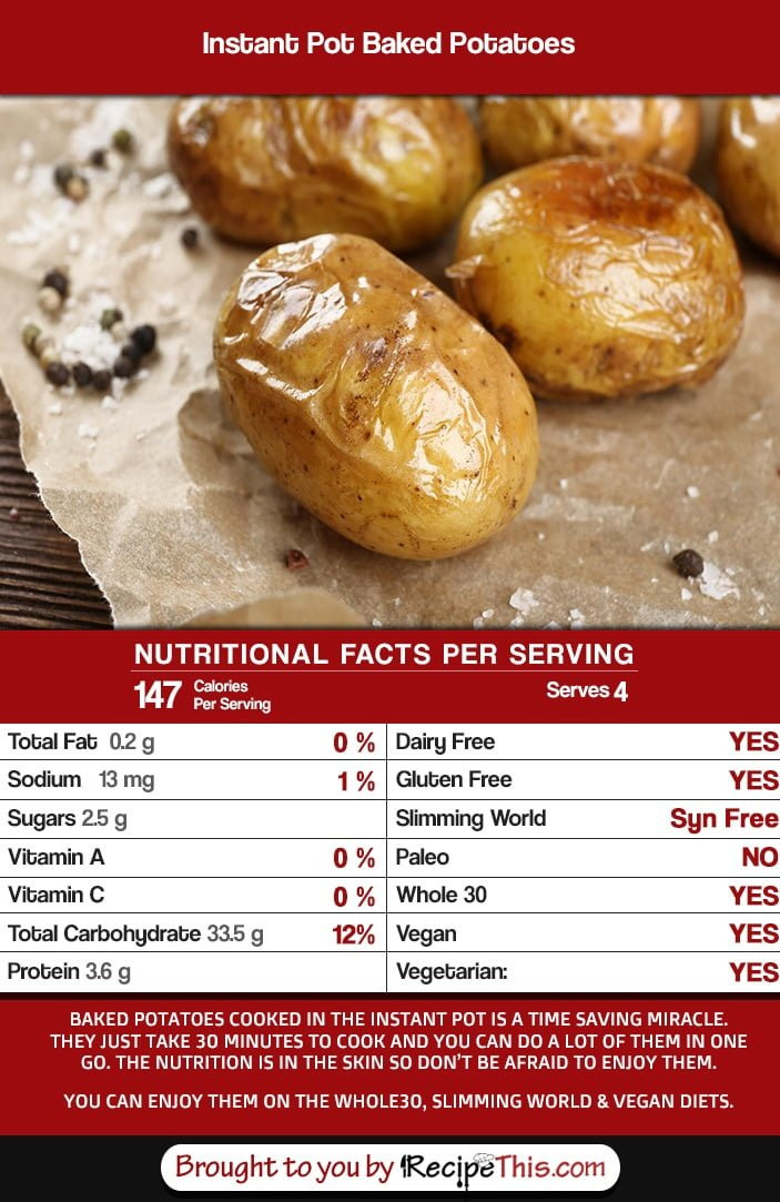 Baked Potato Nutrition  Instant Pot Baked Potatoes