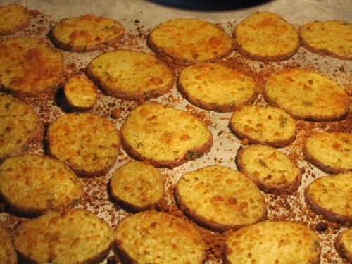 Baked Potato Slices  sliced potatoes in oven
