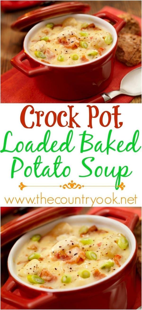 Baked Potato Soup Crock Pot  Crock Pot Loaded Baked Potato Soup recipe from The Country
