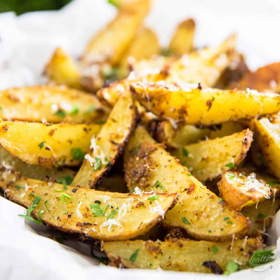 Baked Potato Wedges  Oven Baked Garlic Parmesan Potato Wedges • The Healthy Foo