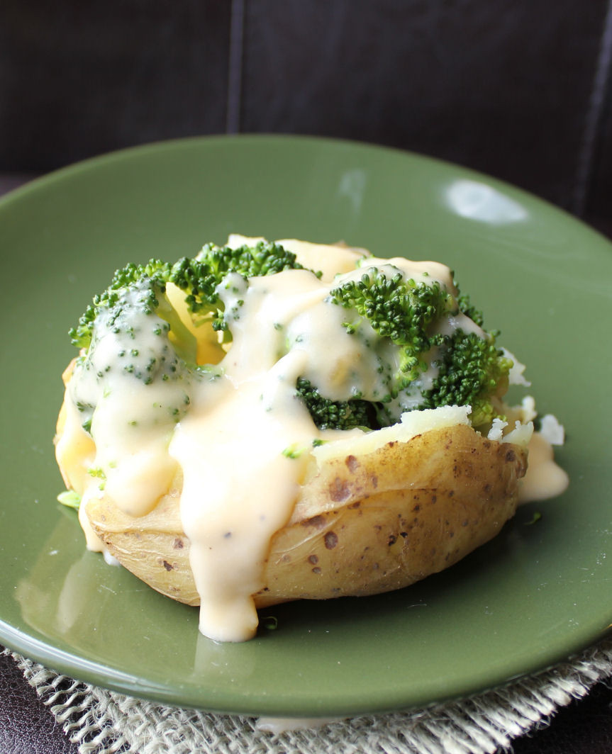 Baked Potato With Cheese  Baked Potatoes Crock Pot with Broccoli Cheddar Cheese Sauce