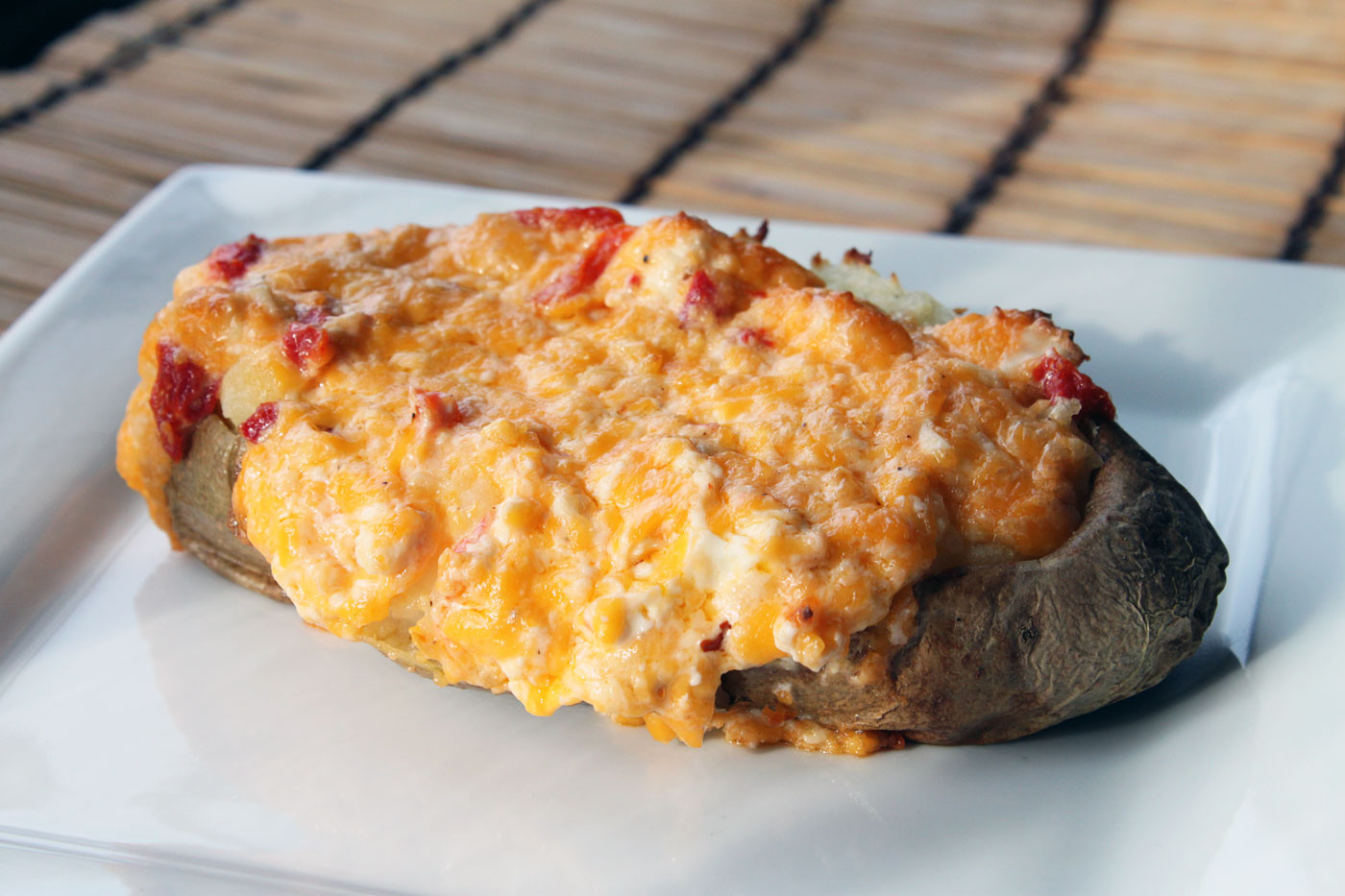 Baked Potato With Cheese  Twice Baked Pimento Cheese Potatoes – Simple fort Food