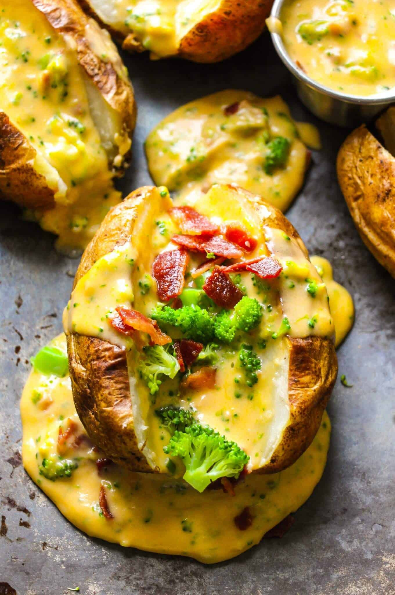 Baked Potato With Cheese  Baked Potatoes with Loaded Broccoli Bacon Cheese Sauce