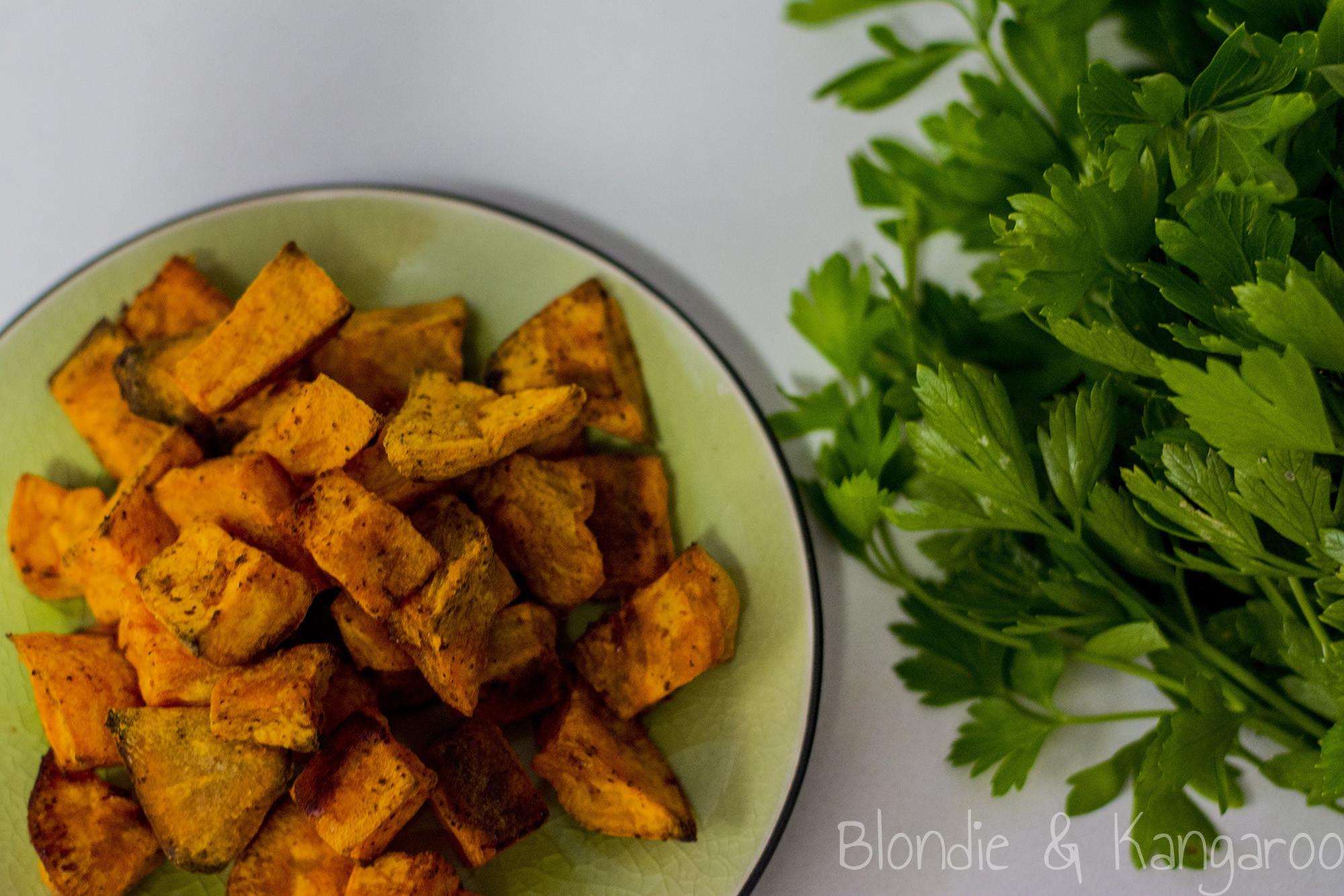 Baked Sweet Potato Cubes  Baked sweet potato cubes Blon & Kangaroo