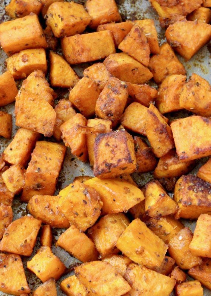 Baked Sweet Potato Cubes  Oven Roasted Sweet Potatoes Recipe Veggie Society