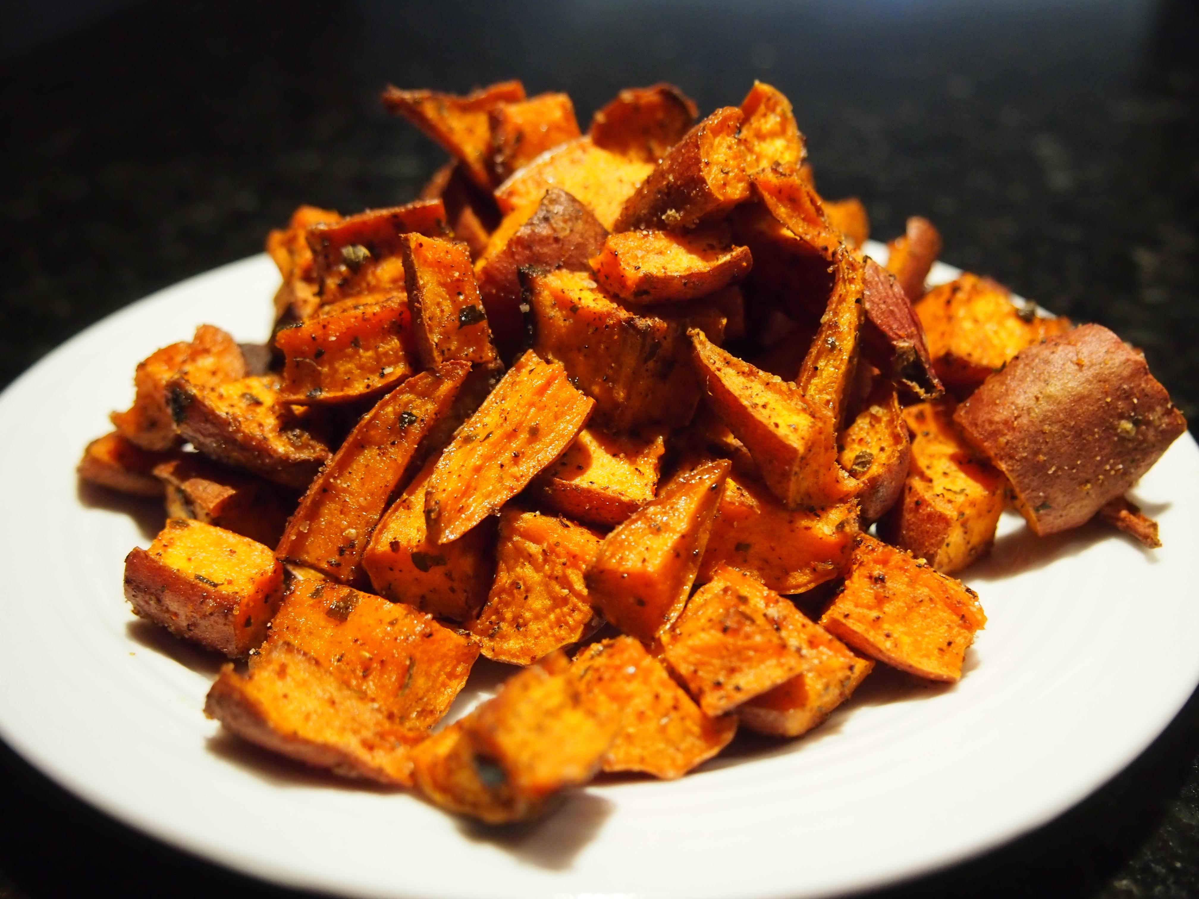 Baked Sweet Potato Cubes  Spicy Baked Sweet Potato Cubes