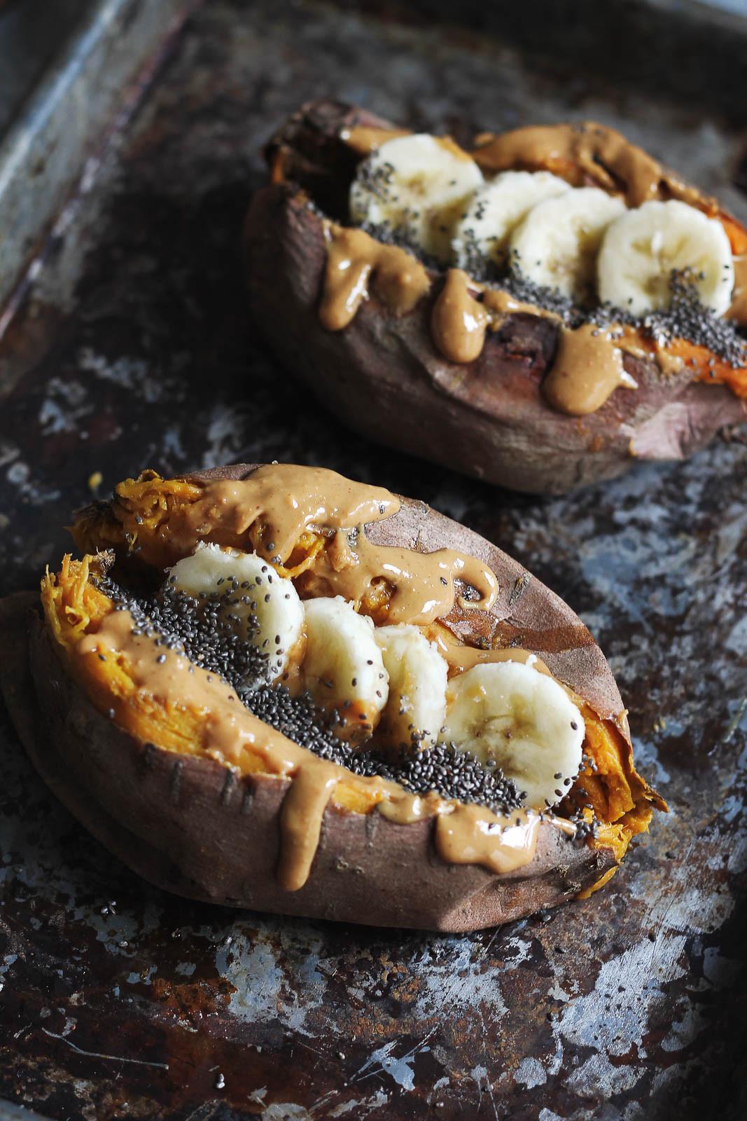 Baked Sweet Potato  Breakfast Baked Sweet Potatoes with Almond Butter