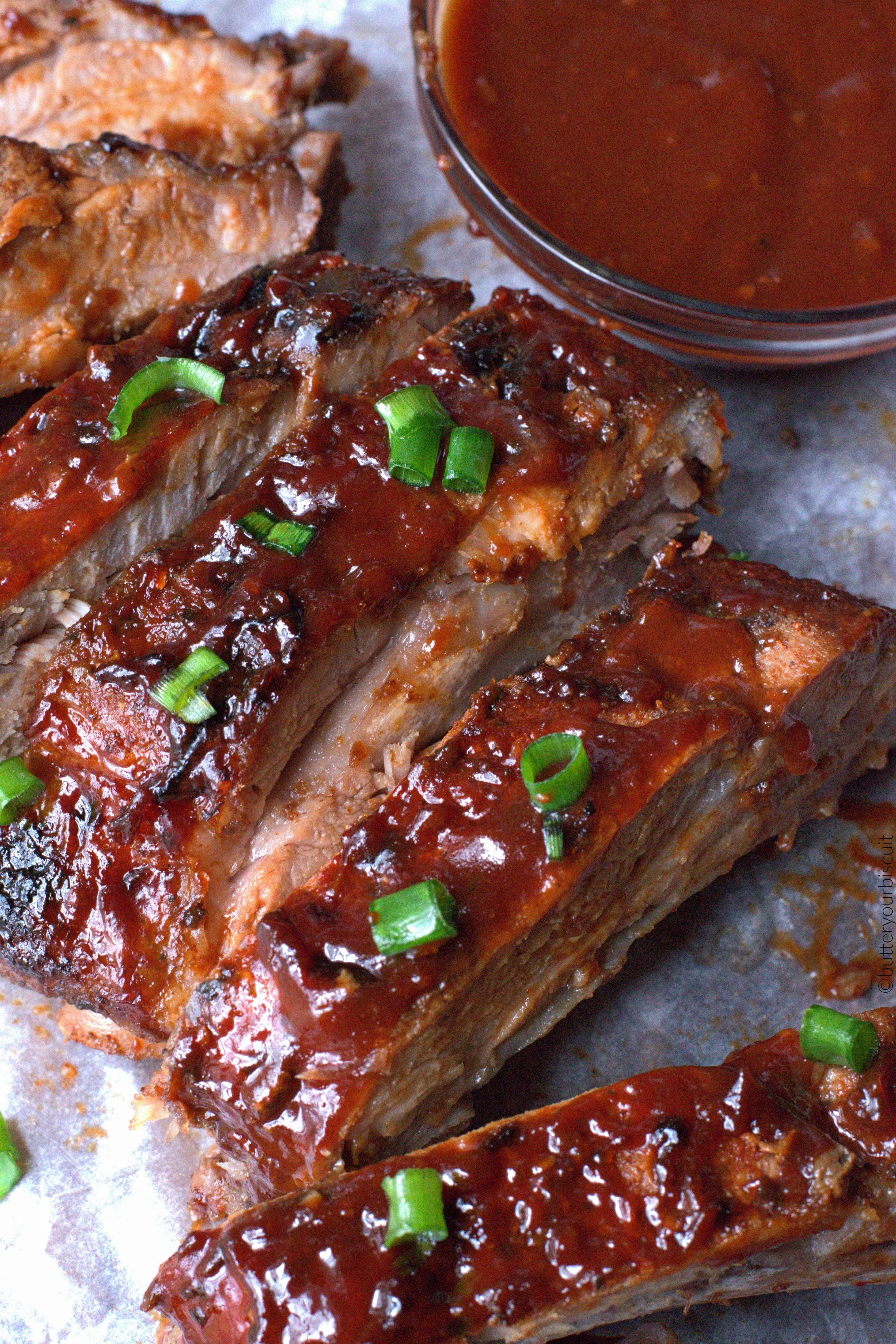 Baking Pork Ribs  Easy Oven BBQ Baked Ribs Recipe Butter Your Biscuit