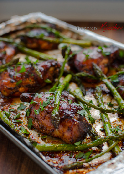 Balsamic Chicken Thighs  Soy Balsamic Chicken Thighs with Asparagus