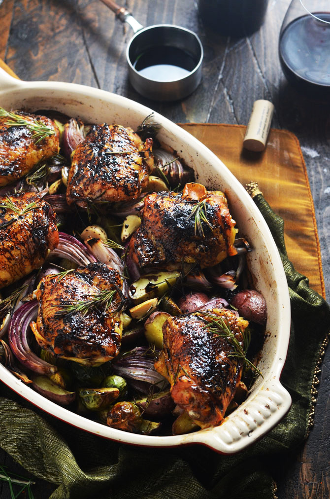 Balsamic Chicken Thighs  Balsamic Red Wine Roasted Chicken Thighs and Ve ables