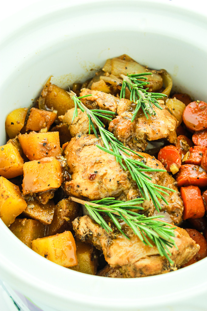 Balsamic Chicken Thighs  Crockpot Balsamic Dijon Chicken and Ve ables from The