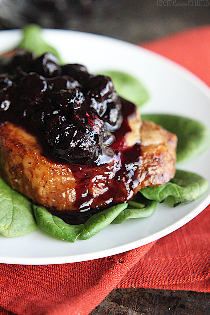 Balsamic Pork Chops  Blueberry Balsamic Pork Chops Creme De La Crumb