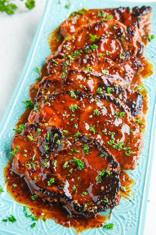 Balsamic Pork Chops  Balsamic Honey and Mustard Pork Chops on Closet Cooking