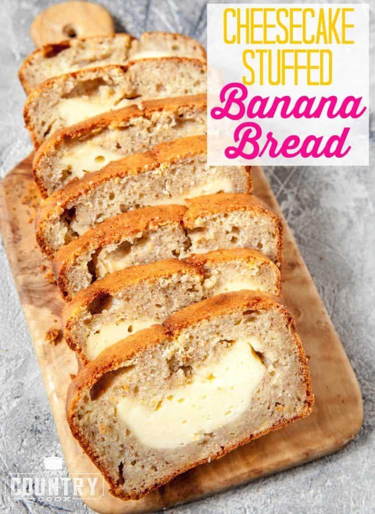 Banana Bread Cheesecake  Cheesecake Stuffed Banana Bread The Country Cook