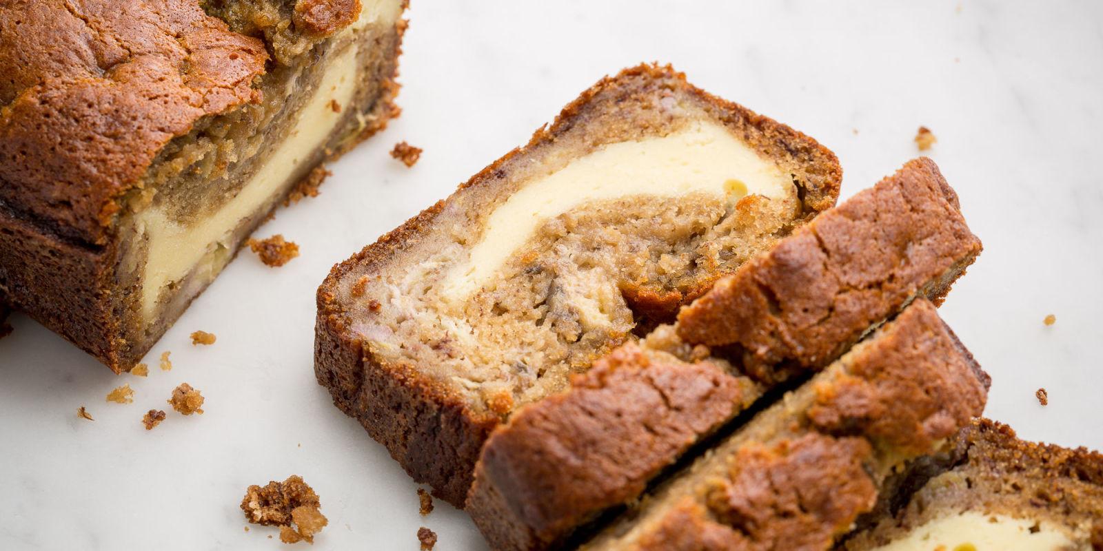 Banana Bread Cheesecake  Cooking Cheesecake Stuffed Banana Bread Cheesecake