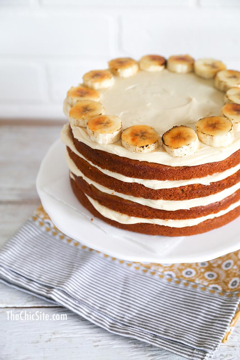 Banana Cream Cake  Banana Cake with Cream Cheese Frosting The Chic Site