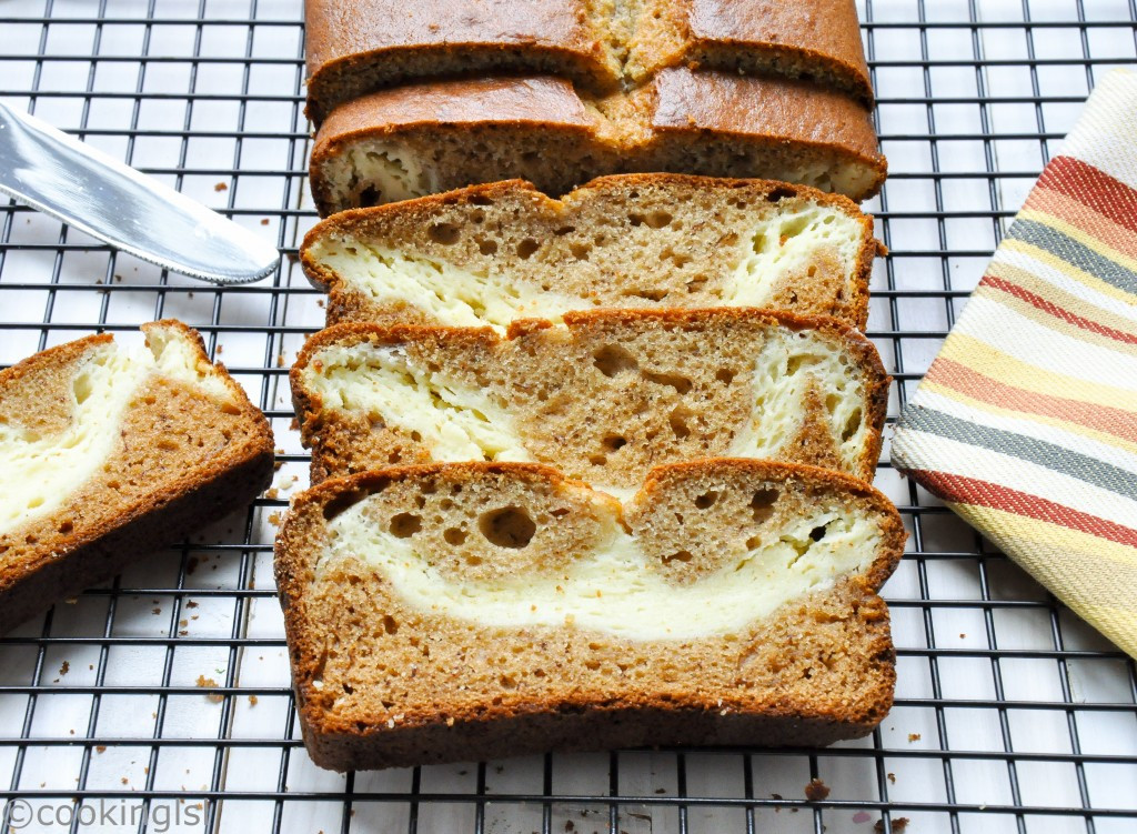 Banana Cream Cheese Bread  Cream Cheese Filled Banana Bread With Coconut Oil