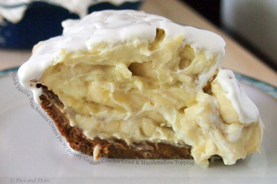 Banana Cream Pie Graham Cracker Crust  Thick Vanilla Bean Banana Cream Pie with Buttery Graham