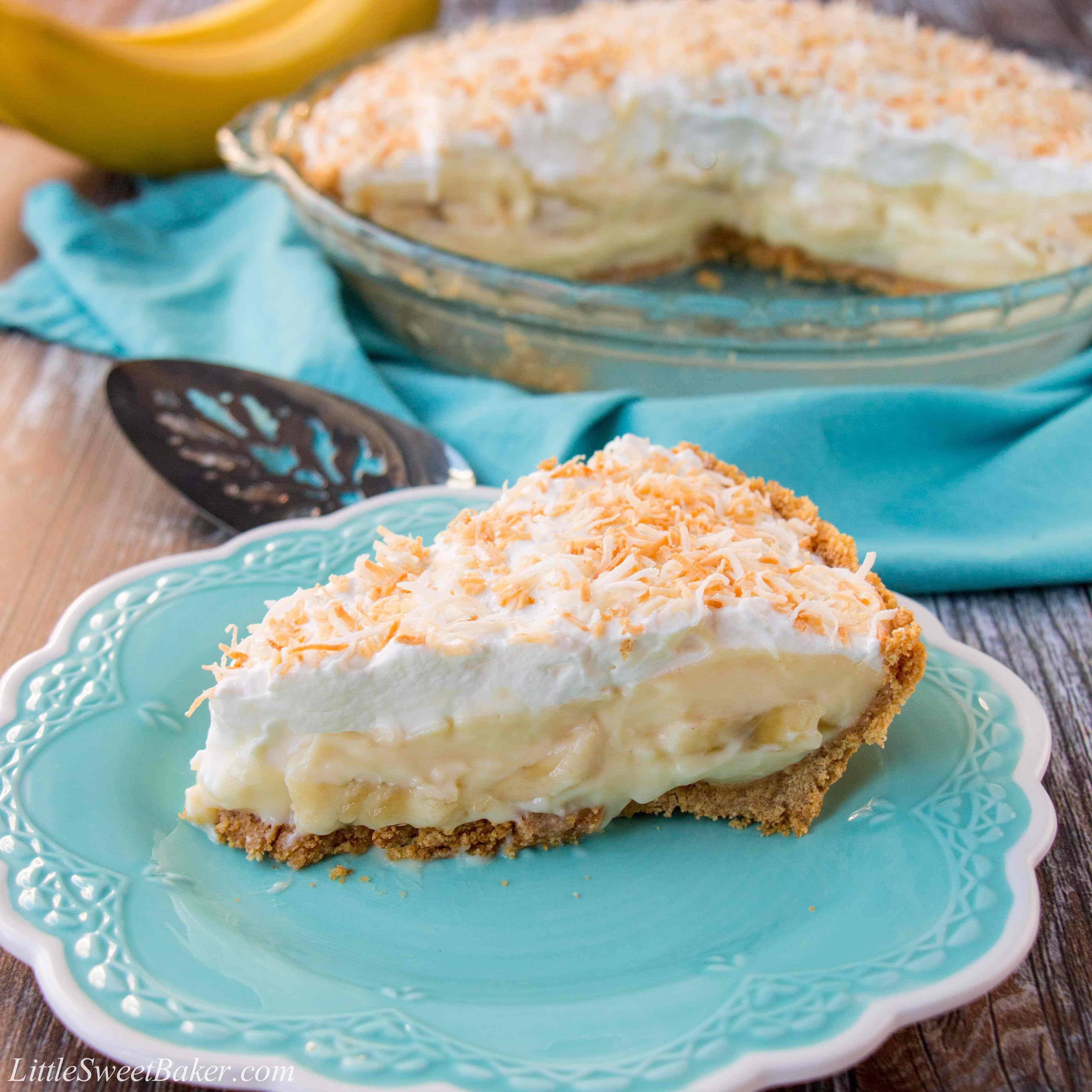 Banana Cream Pie Graham Cracker Crust  Homemade Banana Cream Pie Little Sweet Baker