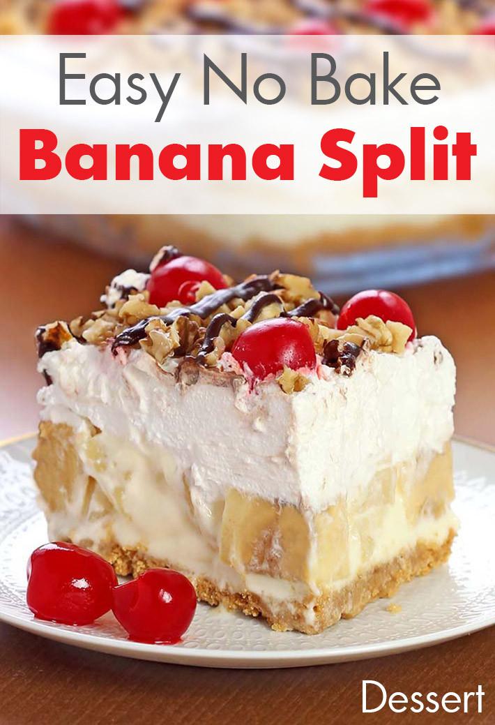 Banana Desserts Easy  Lazy Girl Easy No Bake Banana Split Dessert Recipe