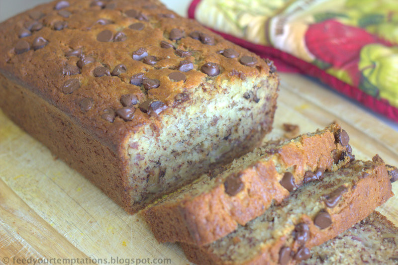 Banana Nut Bread With Sour Cream  Extremely moist banana nut bread with creme fraiche or