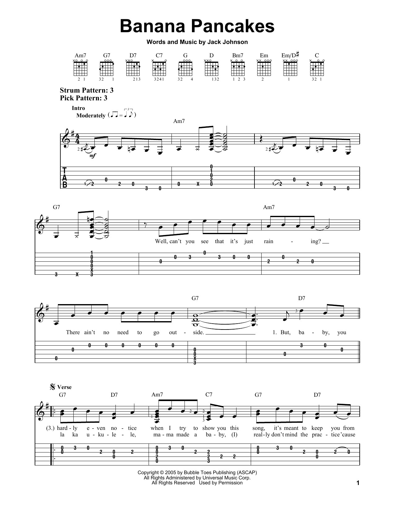 Banana Pancakes Lyrics  Banana Pancakes sheet music by Jack Johnson Easy Guitar