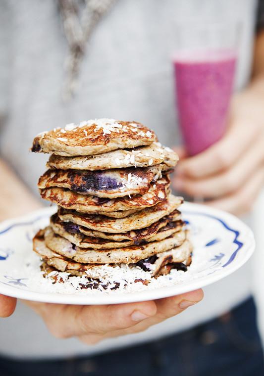 Banana Pancakes No Flour  Green Kitchen Stories Flour free Banana & Blueberry Pancakes