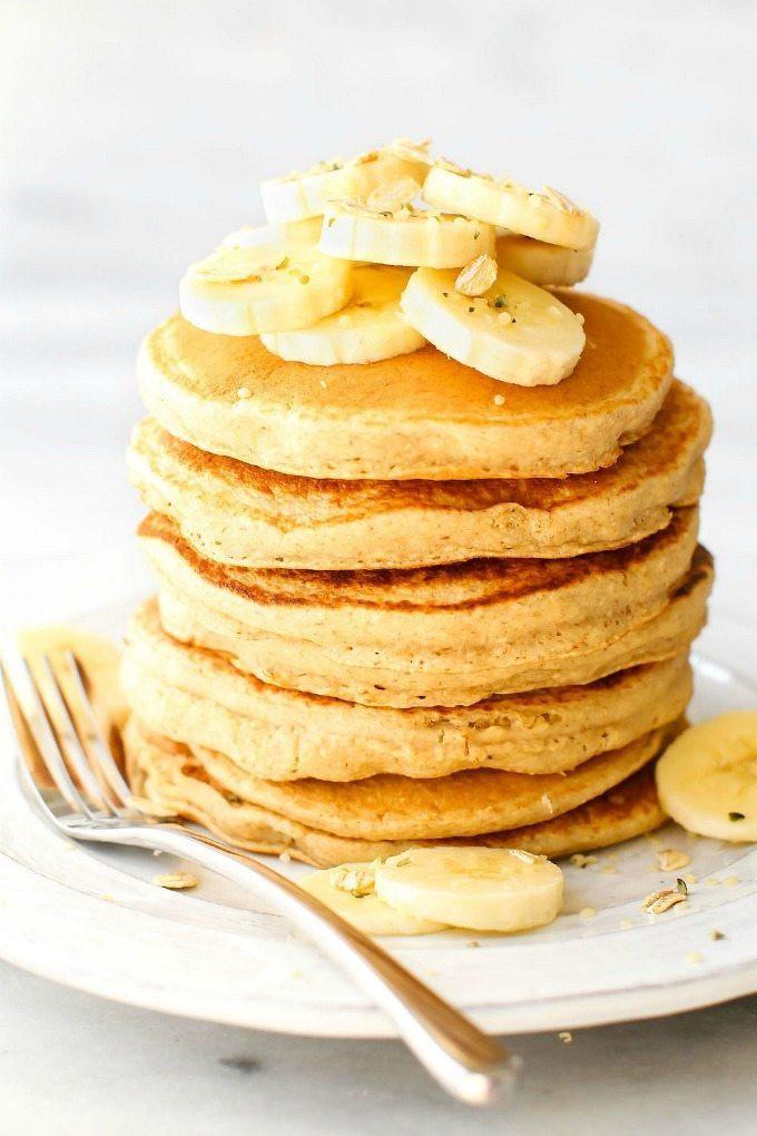 Banana Pancakes No Flour  Fluffy Flourless Banana Smoothie Pancakes Vegan Gluten