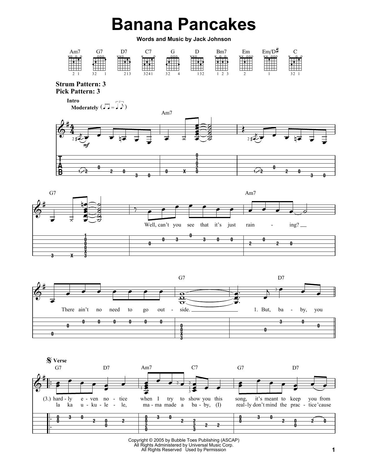 Banana Pancakes Song  Banana Pancakes sheet music by Jack Johnson Easy Guitar