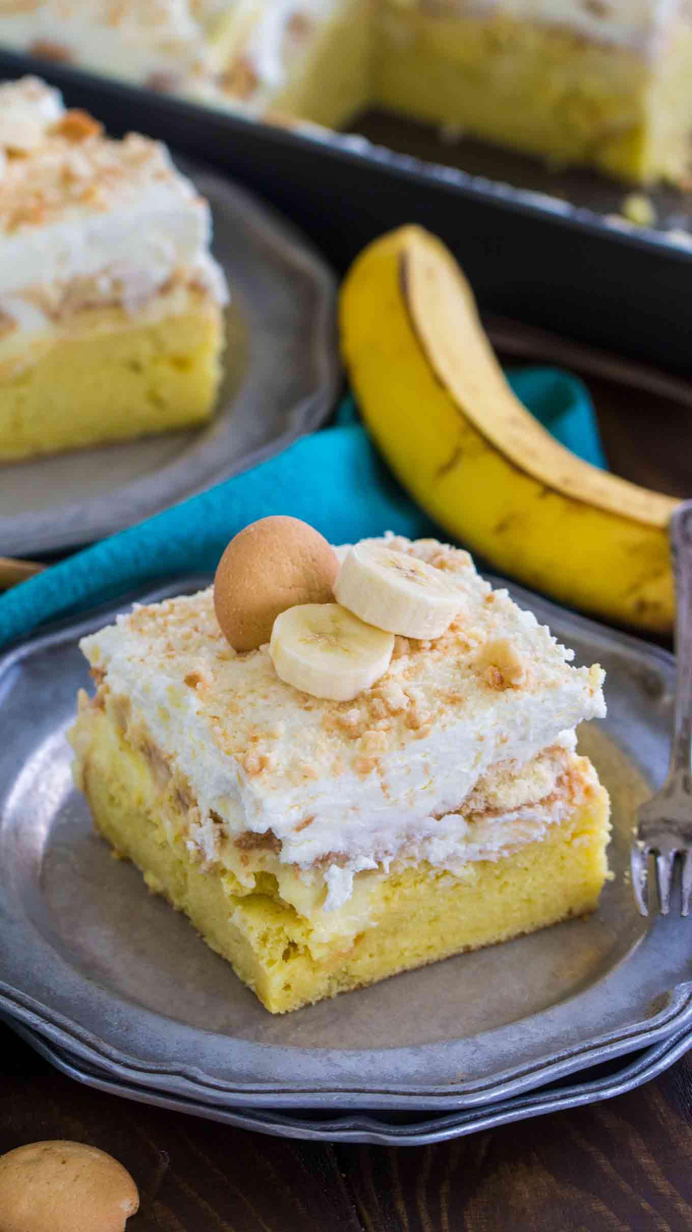 Banana Poke Cake  Banana Pudding Poke Cake Sweet and Savory Meals