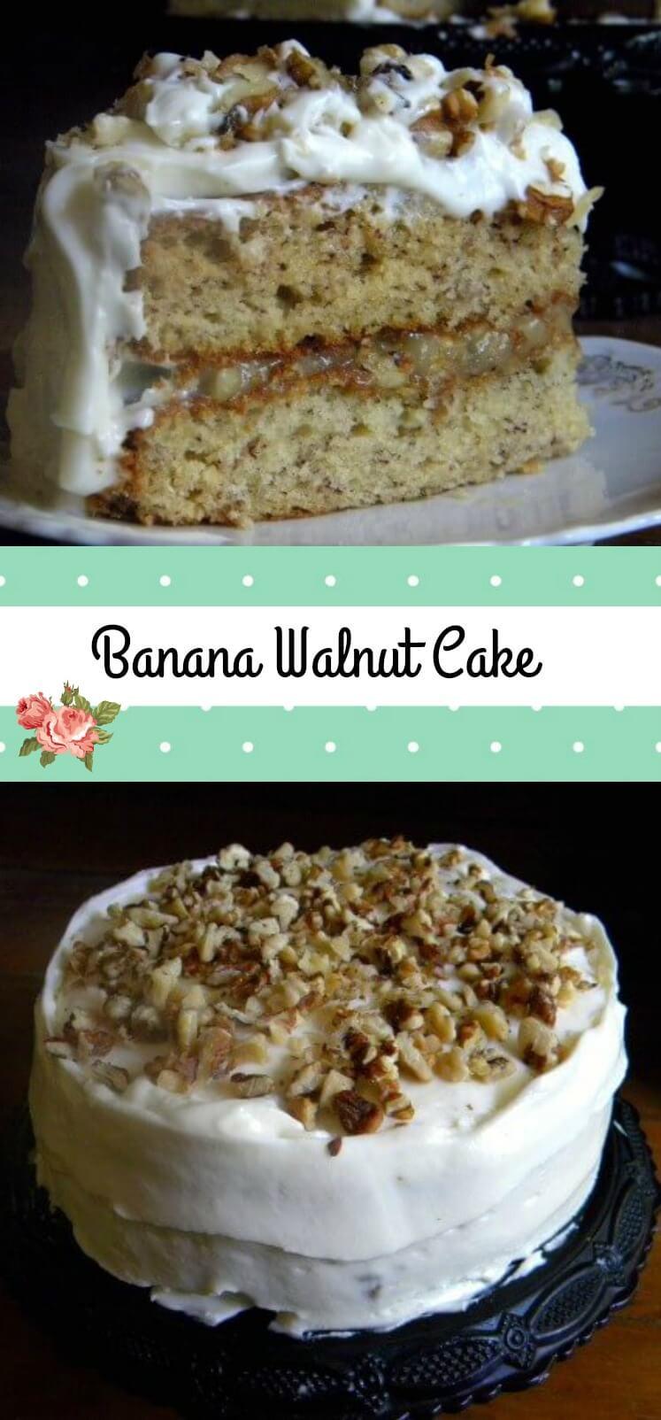 Banana Walnut Cake  Banana Walnut Cake with Cream Cheese Frosting
