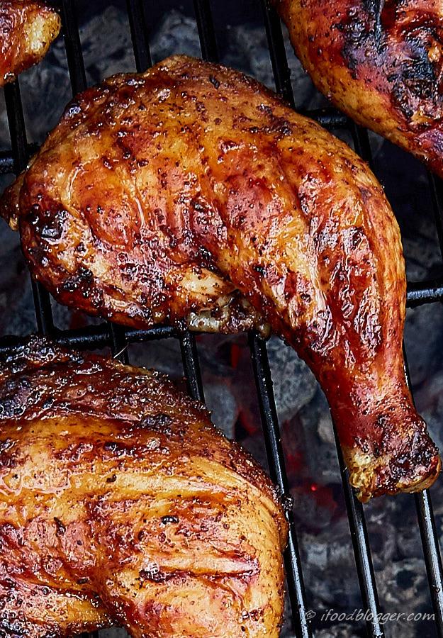 Barbecue Chicken Thighs  Kickin Grilled Chicken Legs i FOOD Blogger