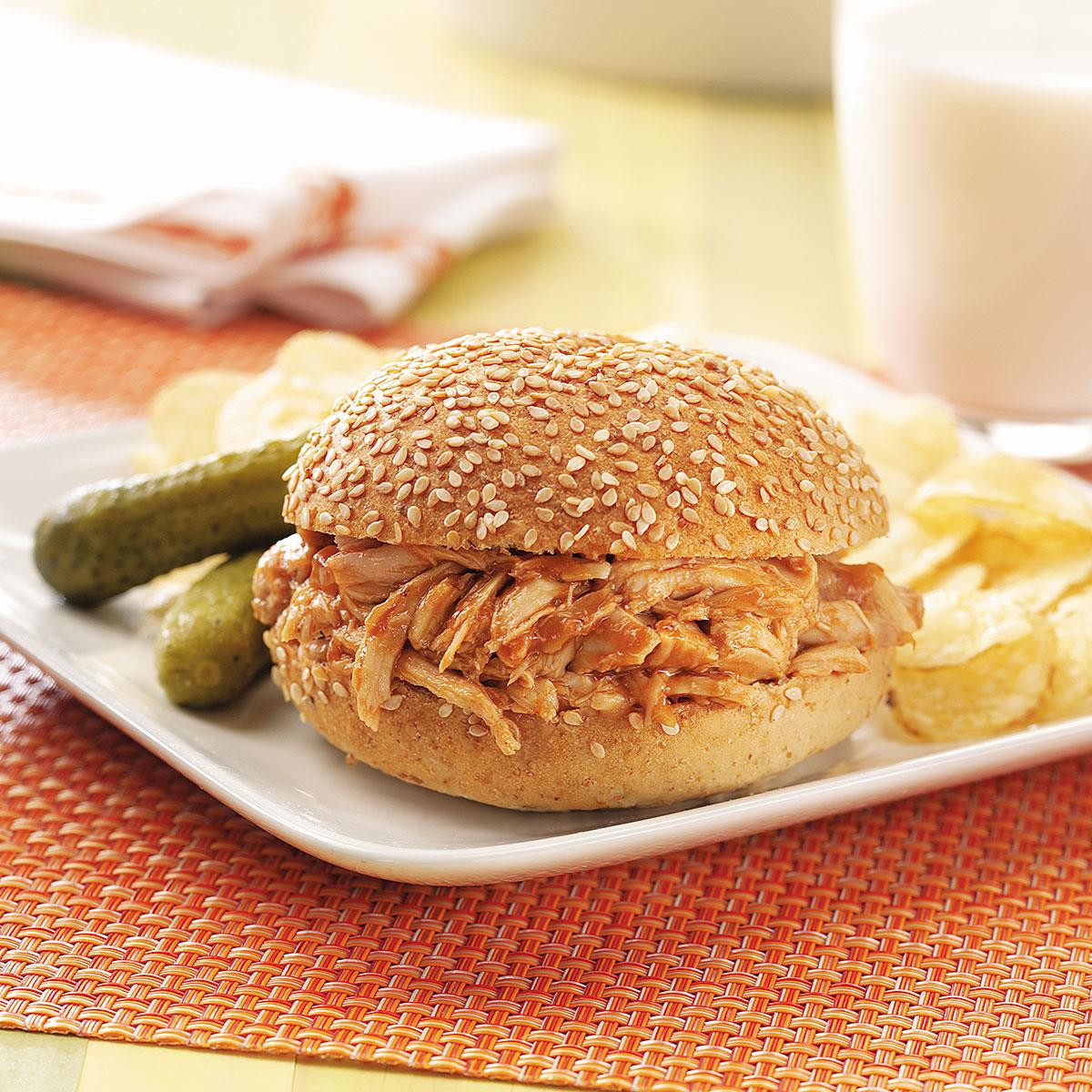 Barbecued Chicken Sandwiches  Barbecued Chicken Sandwiches Recipe