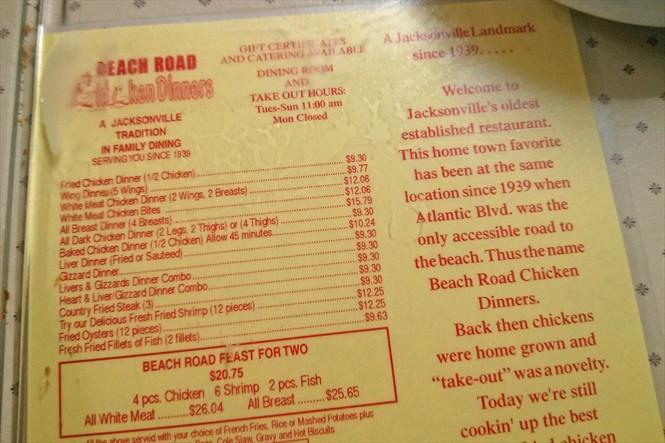 Beach Road Chicken Dinner  Beach Road Chicken Dinners the Iconic Jacksonville