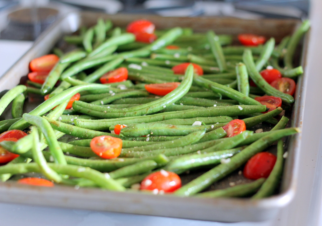 Beans Greens Tomatoes  Roasted Garlic Parmesan Green Beans with Tomatoes