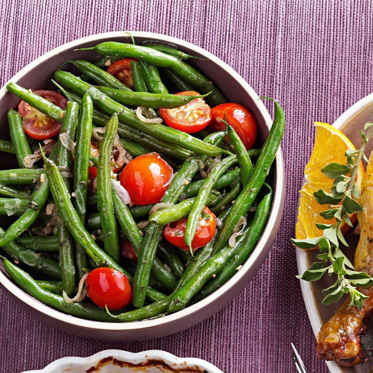Beans Greens Tomatoes  Green Beans with Tomatoes & Basil Recipe