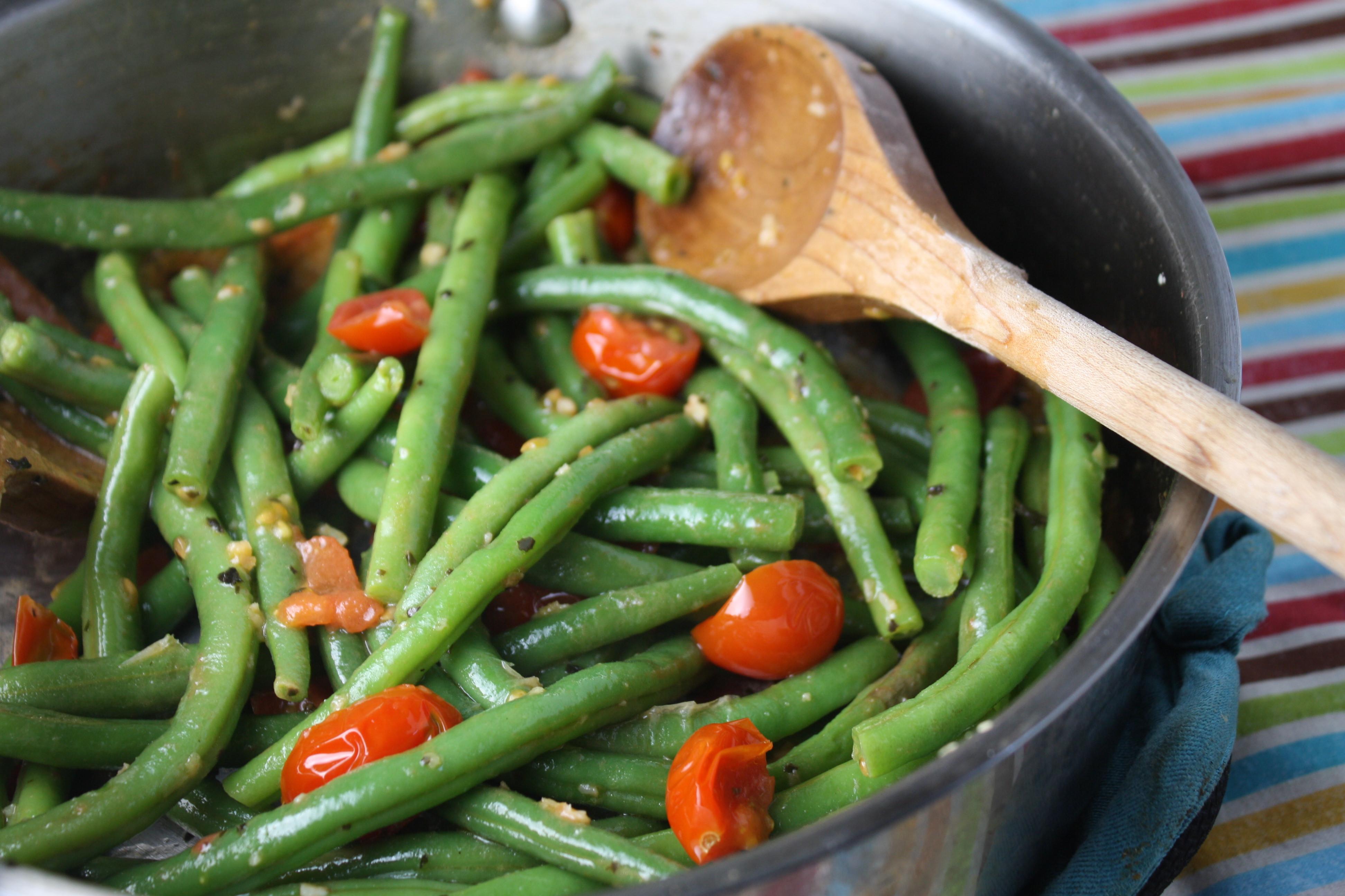 Beans Greens Tomatoes  Tender Green Beans w Cherry Tomatoes & Basil Tessa the