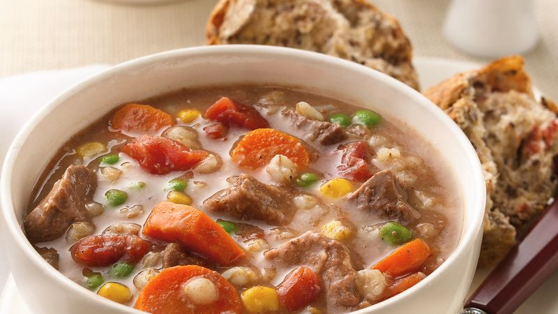 Beef And Barley Soup  Slow Cooker Beef and Barley Soup recipe from Betty Crocker