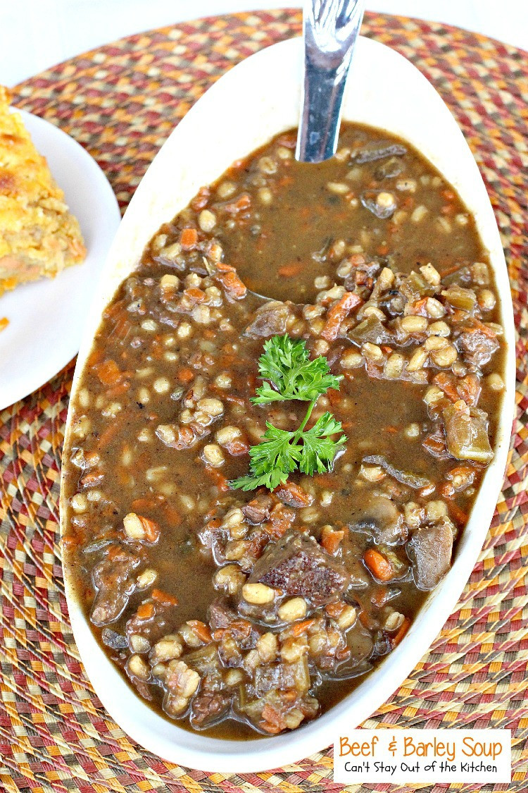 Beef And Barley Soup  Mushroom Soup with Winter Ve ables Can t Stay Out of