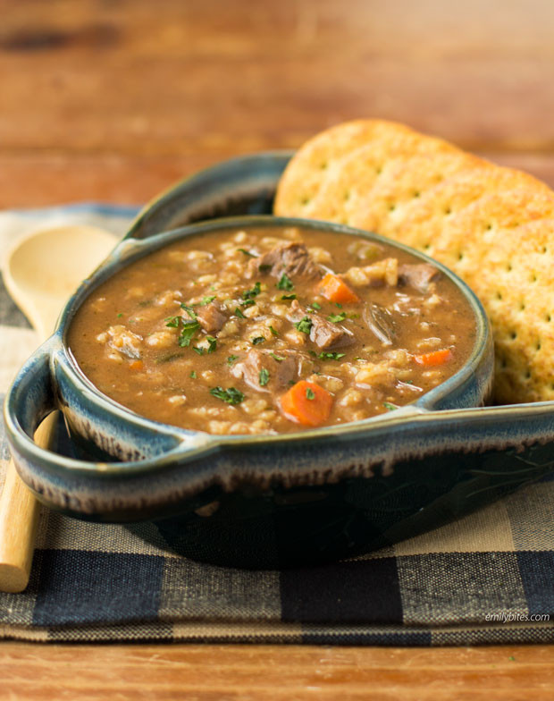 Beef And Barley Soup  Slow Cooker Beef and Barley Soup Emily Bites