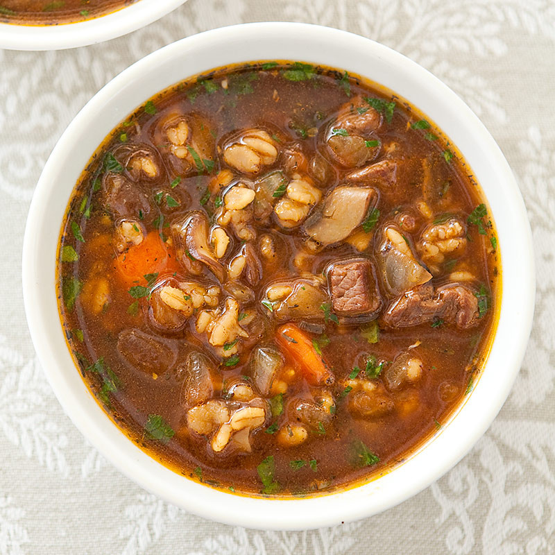 Beef Barley Soup  Beef and Barley Soup for Two