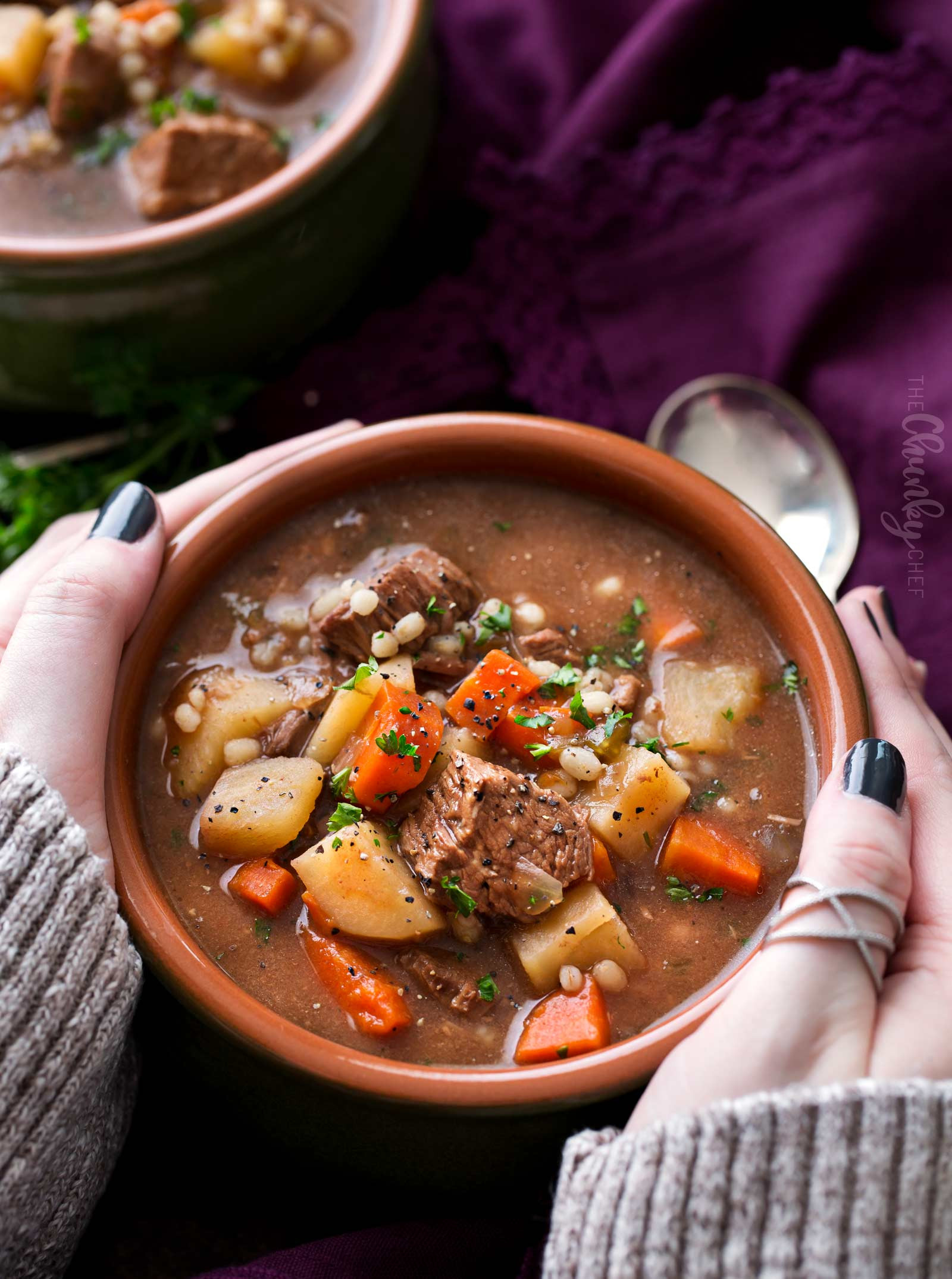 Beef Barley Soup Slow Cooker  Slow Cooker Beef Barley Soup Recipe The Chunky Chef