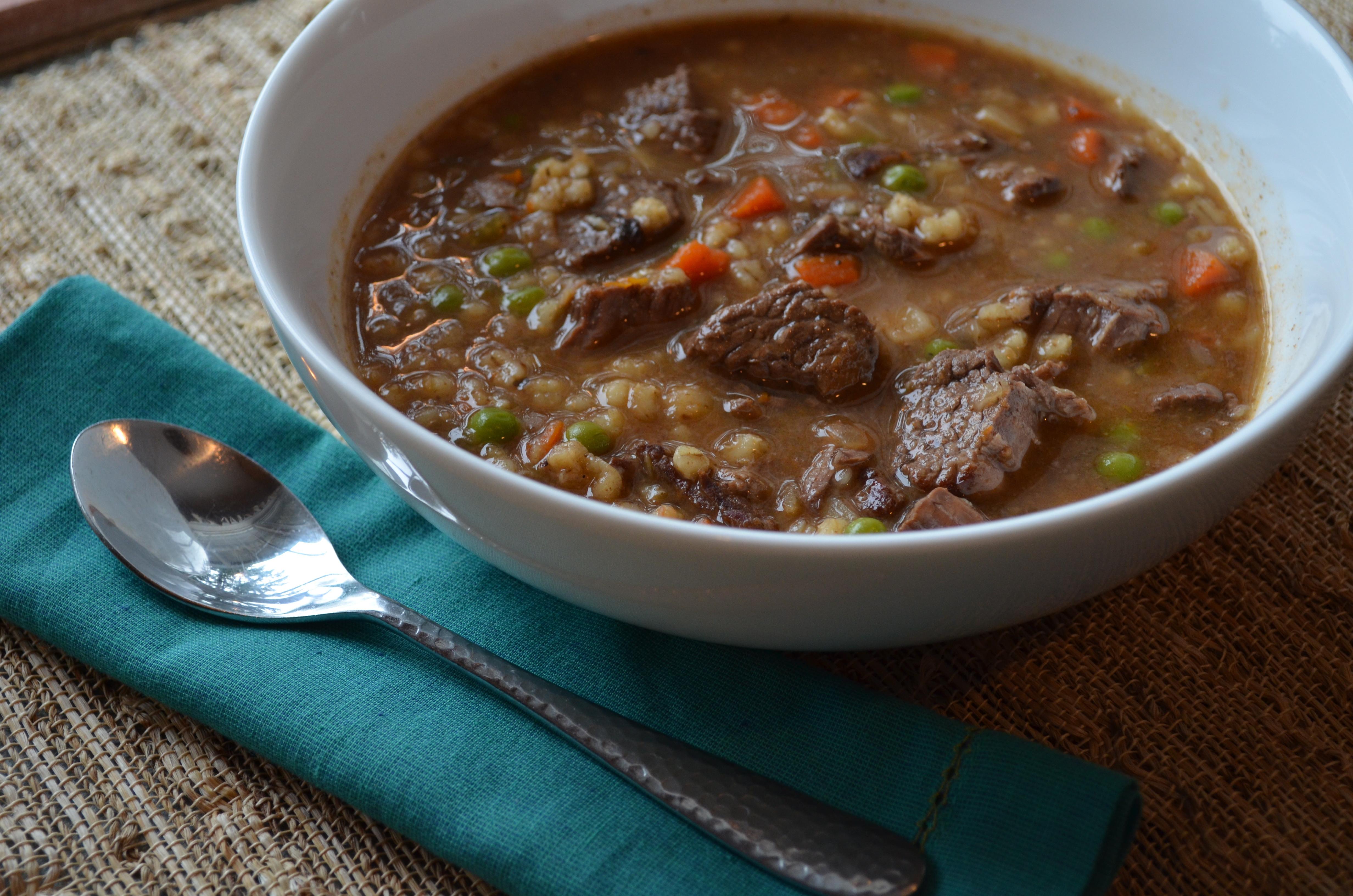 Beef Barley Soup  beef and barley