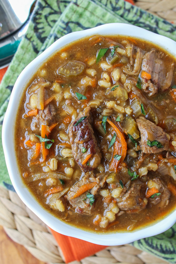 Beef Barley Soup  Beef Barley Soup Slow Cooker The Food Charlatan