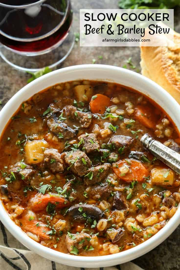 Beef Barley Stew  Slow Cooker Beef and Barley Stew • a farmgirl s dabbles