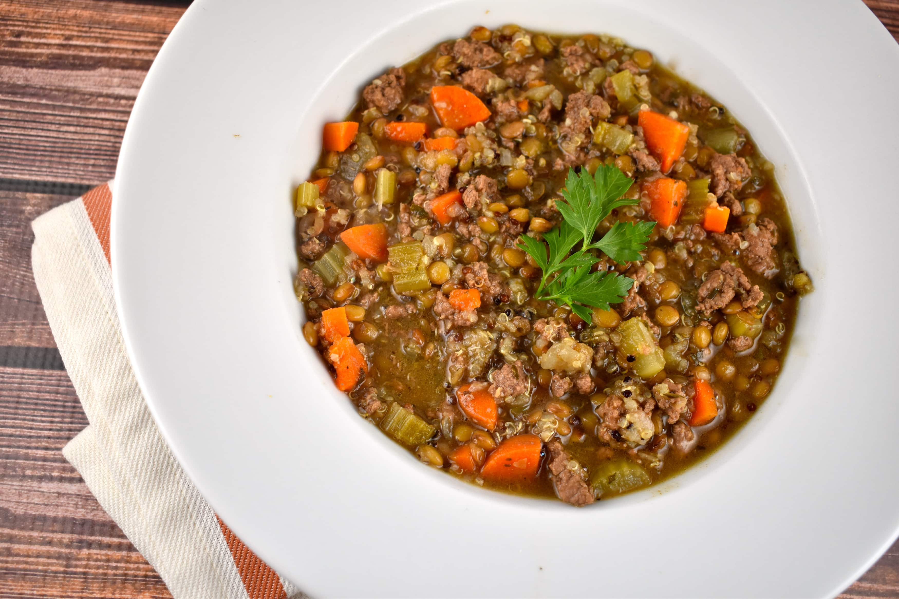 Beef Lentil Soup  Lentil Beef and Quinoa Soup Recipe 5 Points LaaLoosh
